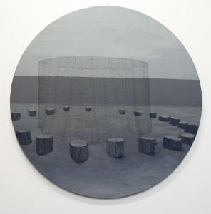 "Grayson Cox, Circle, 2009, 24"" in diameter Enamel marker and acrylic on panel"