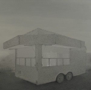 "Grayson Cox, ""Portable Shrine"" (trailor), 2009, Enamel and acrylic on canvas"