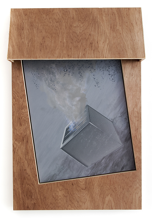Grayson Cox  Vent, 2015  Silkscreen and acrylic paint on canvas, wood and industrial seal.